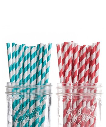 Aqua & Red Stripe Straw Set