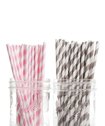 Bubble Gum Pink & Gray Stripe Straw Set