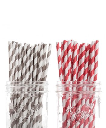Gray & Red Stripe Straw Set
