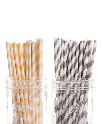 Yellow & Gray Stripe Straw Set