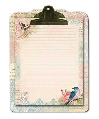 Floral Bird Die-Cut Clipboard & Notepad