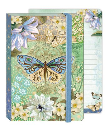 Blue & Green Butterfly Soft Cover Bungee Journal