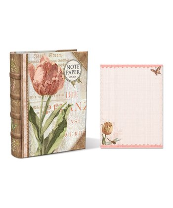 Linen Tulips Embellished Note Paper Book Box