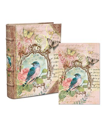 Floral Bird Embellished Keepsake Box & Notecard Set
