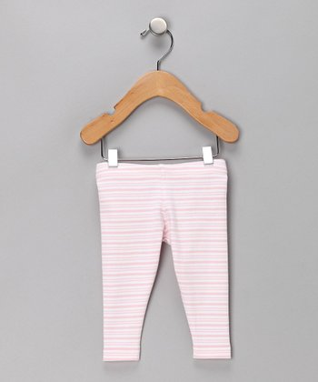 Pink Butterfly Stripe Organic Leggings - Infant