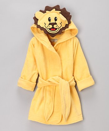 Yellow Lion Organic Hooded Robe - Infant