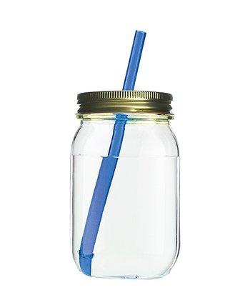 Blue Moonshine Shindig Glass Mason Jar