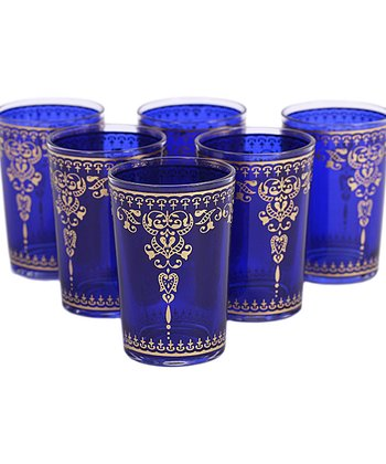 Blue Moroccan Tea Glass - Set of Six