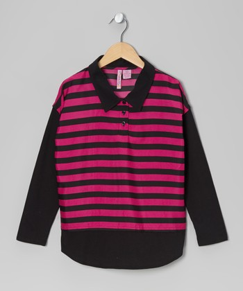 Fuchsia Stripe Chiffon Polo - Girls