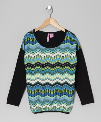 Blue Zigzag Top - Girls