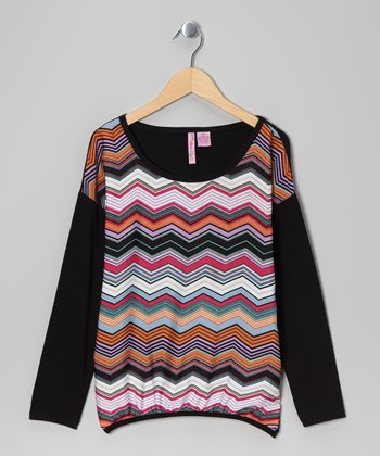 Fuchsia Zigzag Top - Girls