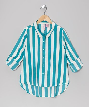 Turquoise Stripe Hi-Low Button-Up - Girls