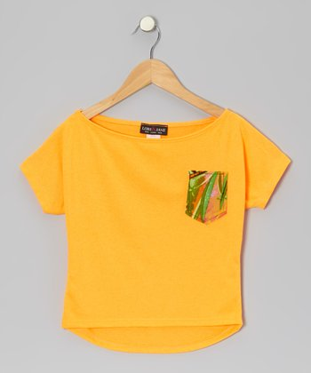 Orange Contrast Pocket Top