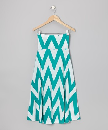Green & White Zigzag Maxi Skirt