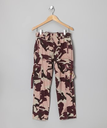 Eggplant Camo Cargo Pants - Girls