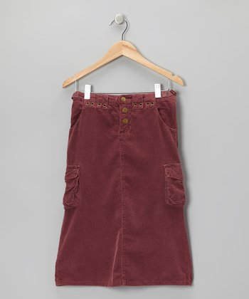 Eggplant Purple Cargo Corduroy Pencil Skirt - Girls