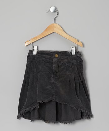 Black Frayed Corduroy Hi-Low Skirt - Girls