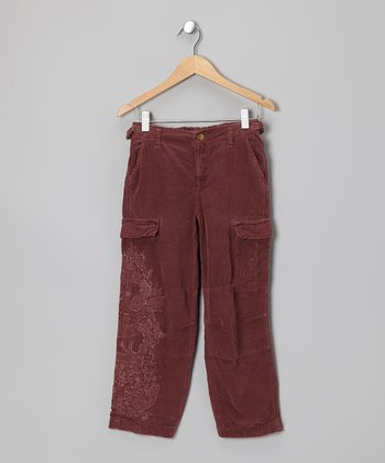 Eggplant Purple Embroidered Corduroy Cargo Pants - Girls