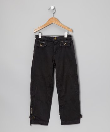 Black Snap Pocket Pants - Girls
