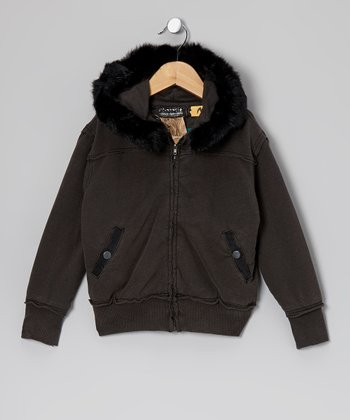 Black Faux Fur Zip-Up Hoodie - Girls