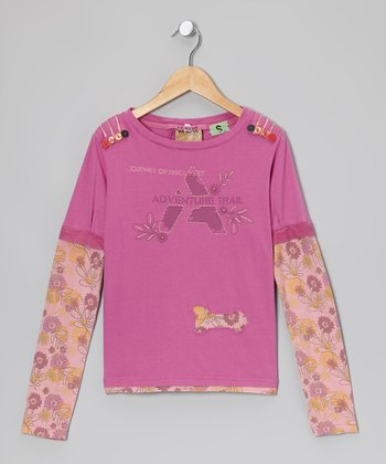 Mulberry Floral Layered Tee - Girls