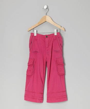 Fuschia Silk-Blend Cargo Pants - Toddler & Girls