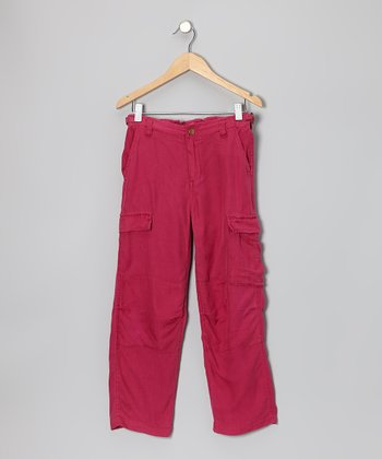Magenta Silk Cargo Pants - Girls