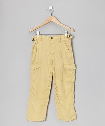 Maize Embroidered Silk Cargo Pants - Girls