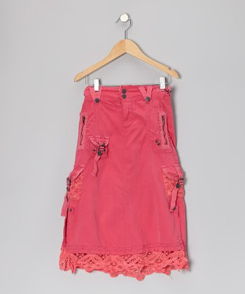 Magnolia Lace Silk-Blend Skirt - Girls