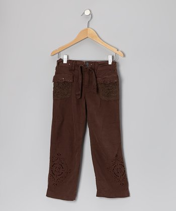 Chestnut Eyelet Silk-Blend Pants - Girls
