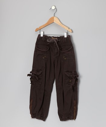 Charcoal Brown Zipper Rivet Cargo Pants - Girls
