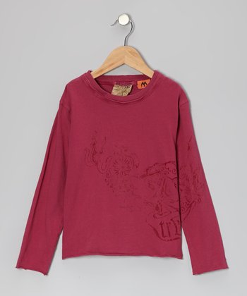 Magenta Stamp Tee - Girls