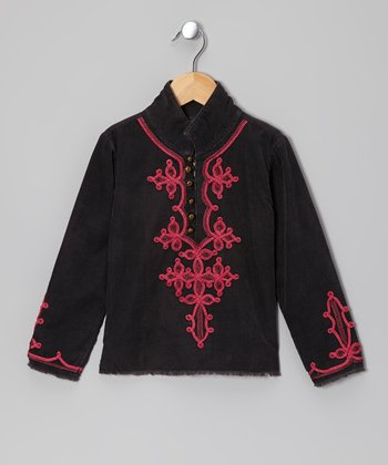 Black Corduroy Embroidered Jacket - Girls
