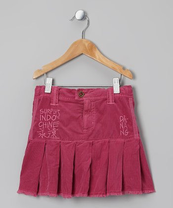 Magenta 'Indo Chine' Corduroy Skirt - Girls