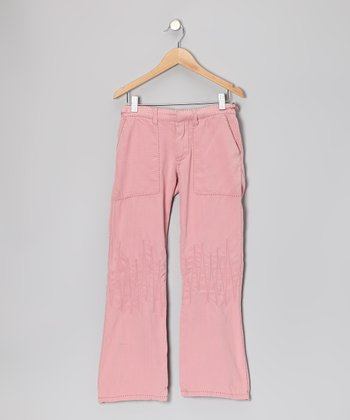 Mauve Zigzag Silk Pants - Girls