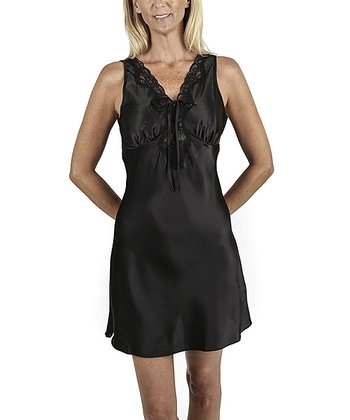 Black Lace Trim Chemise - Women & Plus