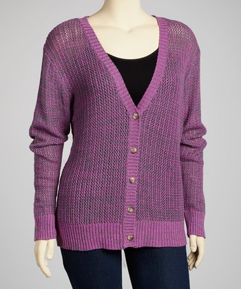 Bright Violet Boyfriend Cardigan - Plus