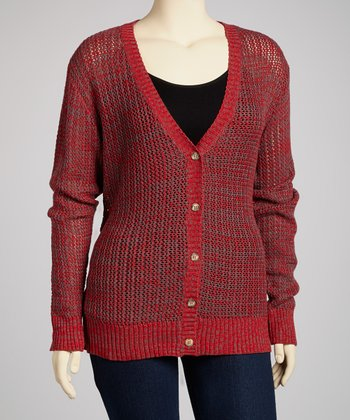 Poppy Red Boyfriend Cardigan - Plus