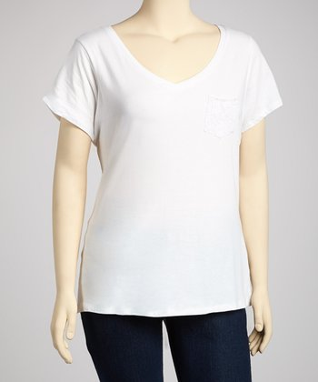 White Pocket V-Neck Top - Plus