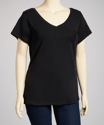 Gray Velvet Pocket V-Neck Top - Plus