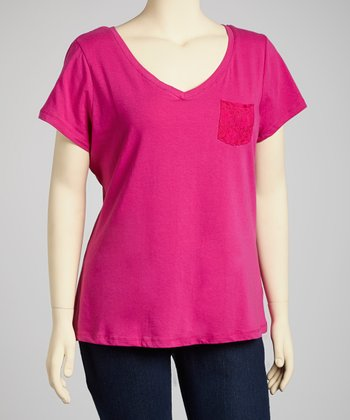 Peony Pink Pocket V-Neck Top - Plus
