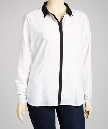 White & Black Collared Long-Sleeve Top - Plus