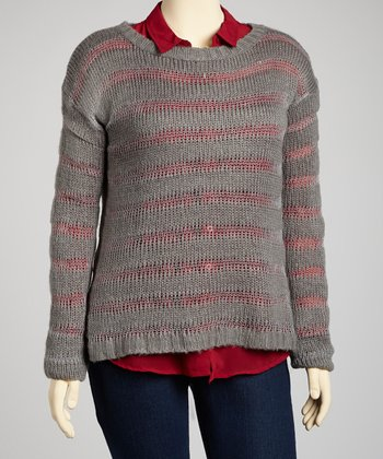 Grey Sheer Stripe Sweater - Plus