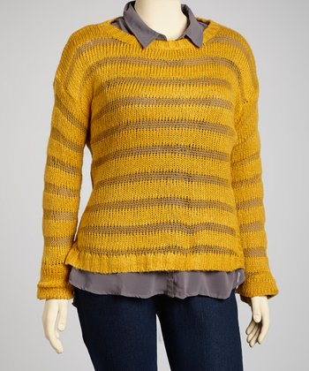 Mustard Sheer Stripe Sweater - Plus