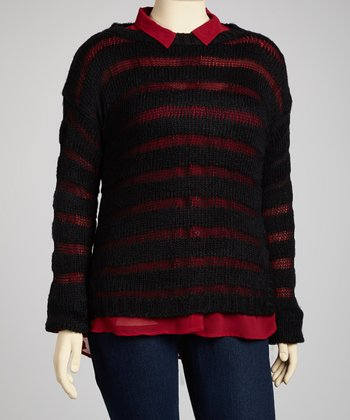 Black Sheer Stripe Sweater - Plus