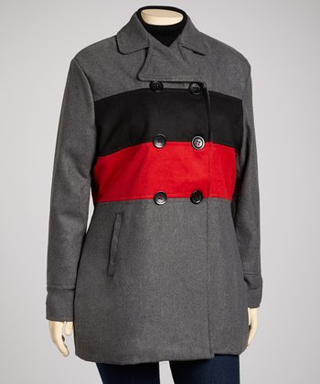 Charcoal & Red Stripe Peacoat - Plus