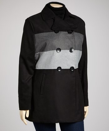 Black & Gray Stripe Peacoat - Plus