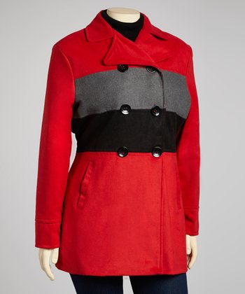 Red & Gray Stripe Peacoat - Plus