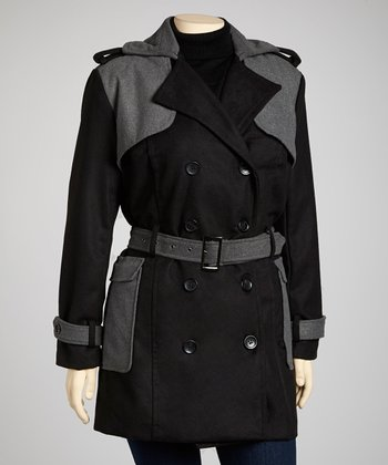 Black & Gray Belted Peacoat - Plus
