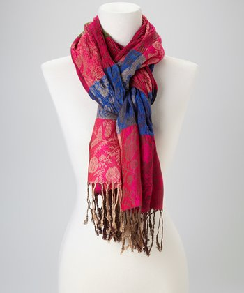 Fuchsia & Blue Ruched Scarf